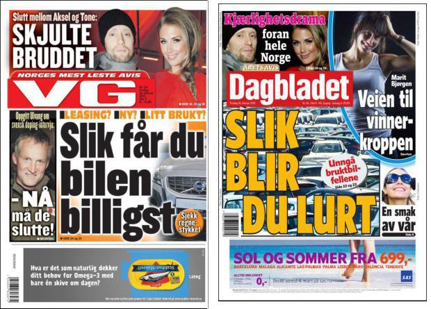 Forsidene 26. februar 2013 Til venstre: kr. 15,-. Til høyre: kr.20,-