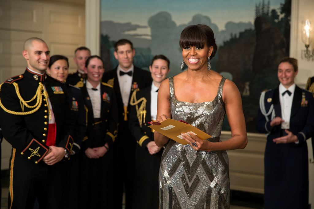 First Lady Michelle Obama announces the Best Picture Oscar to Argo live from the Diplomatic Room of the White House, Feb. 24, 2013. Official White House Photo by Pete Souza