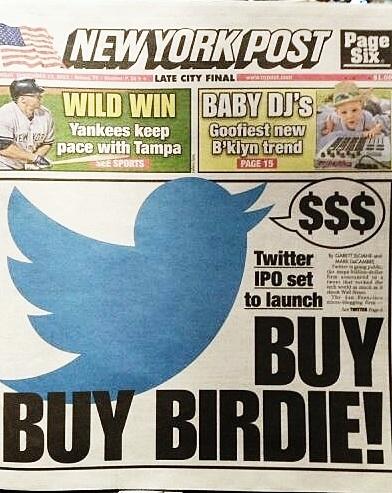 New York Post-forsiden når Twitter går på børs.