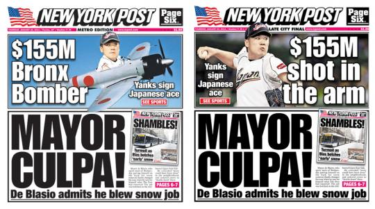 Ooops, ny forside. New York Post, januar 2014.